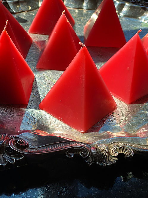 Red Cinnamon Scented Pyramid Candle - For Love, Romance, and More.