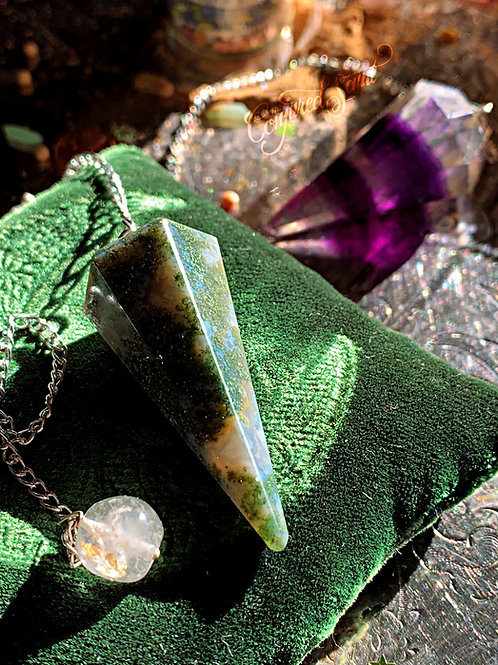 Moss Agate Pendulum- Ritually Blessed From My Personal Collection