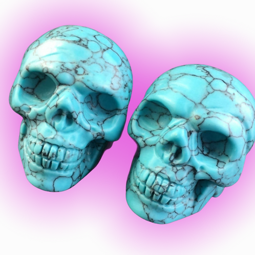 2 Inch Turquoise Gemstone  Skulls- Brings Luck, Promotes Wealth & Success
