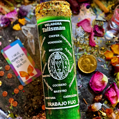 Steady Work Talisman Candle- Steady Work, Brings Employment, Business, Clients,,Hoodoo, Voodoo, Wiccan, Pagan, Santeria,