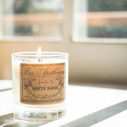 White Sage Botanical Candle In Scotch Glass - Energy clearing