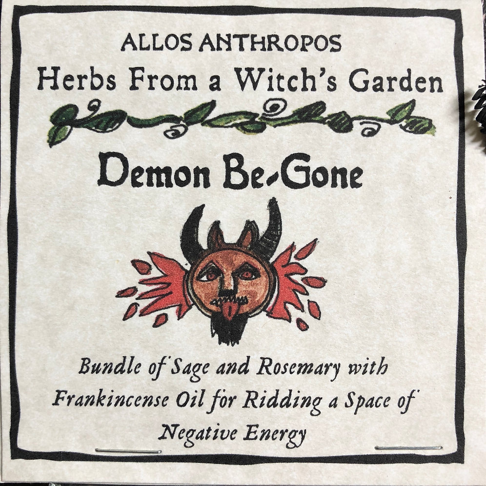 Demon Be-Gone Smudge Stick- Herbs from a Witch's Garden