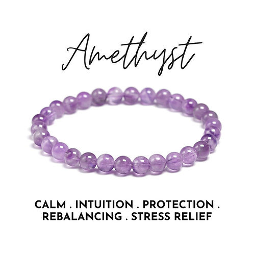 Amethyst Crystal Bracelet- Removing Addictions, Reduces Stress and Anxiety.