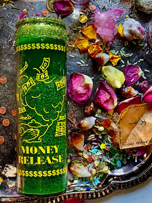 Money Release 7-Day Hoodoo Ritual Candle -  Focused Money Drawing Energy