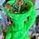 NEON GREEN- La Madama Ritual Image Candle with Oil - Luck, Prosperity, Ancestor