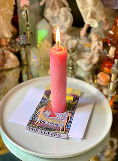 Tarot Card Spells | The Lovers Tarot Card With A Candle Lit Above It