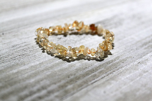 Citrine Crystal Chip Bracelet- Stone of wealth, Success & True Prosperity.