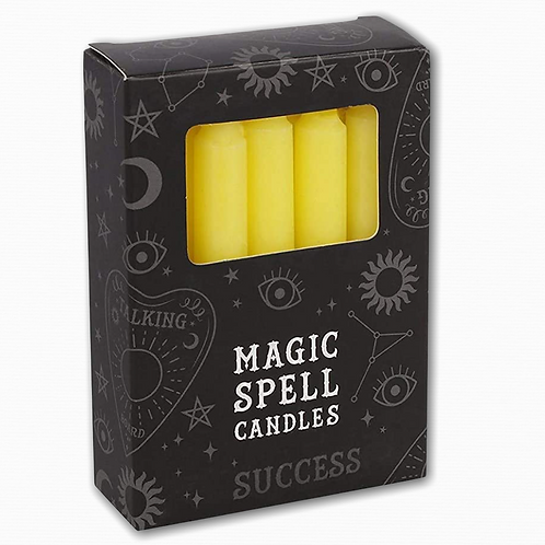 YELLOW SPELL CANDLES. 12 Pack - Golden Success, Personality & Will Power