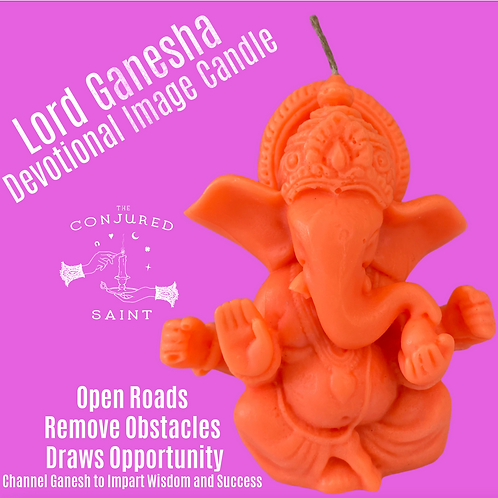Lord Ganesha Devotional Image Candle- Removes Obstacles, Draws Opportunity