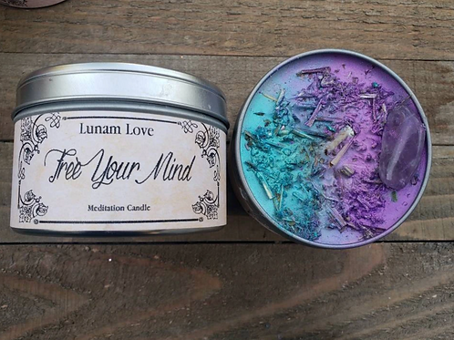 FREE YOUR MIND Meditation Candle //Tin Candle // Spell Candle // Ritual Candle