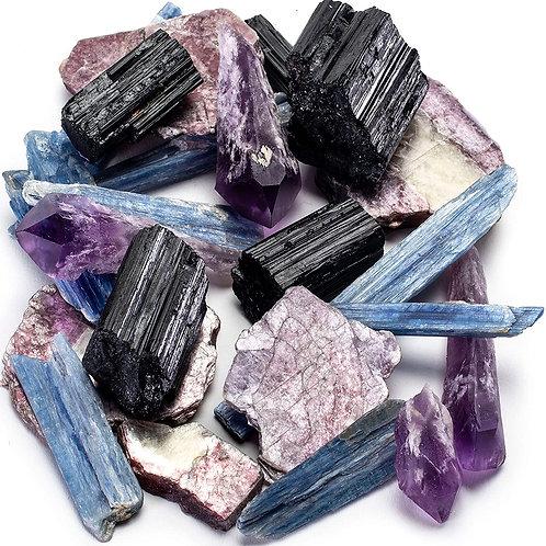 Crystal Magic Starter Kit-Black Tourmaline, Amethyst, Lepidolite, & Blue Kyanite