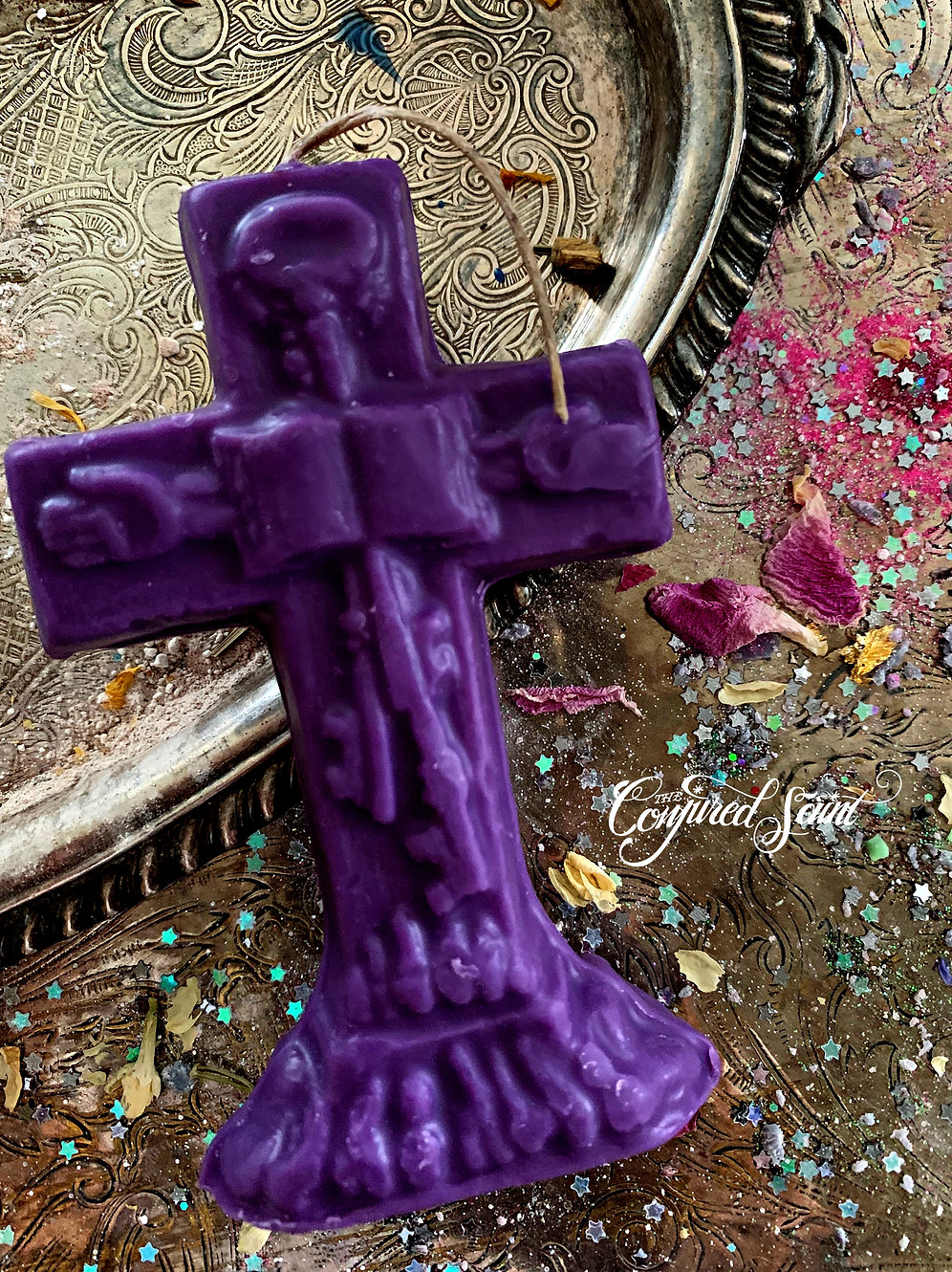 Purple Master Key Crucifix Candle- Conjure Your Wishes, Rulership, Control  | theconjuredsaint