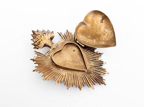 Sacred Heart Hanging Prayer Box- Milagro Heart, Blessings, Protection