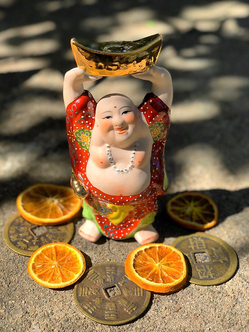 Big Money Buddha Hand Painted Porcelain Statue- Brings Its Owner Wealth