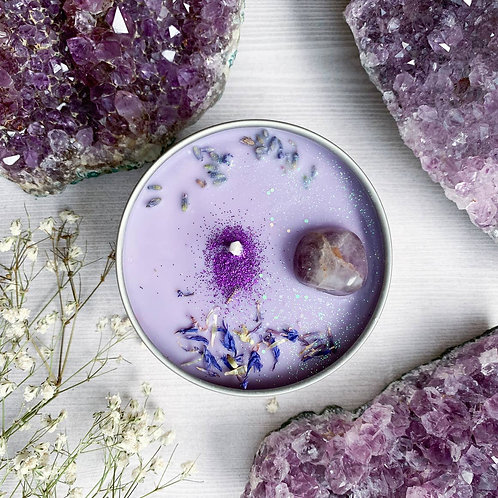 Serenity Crystal Candle By The Astral Boutique-  Relaxing, Clearing, Calming