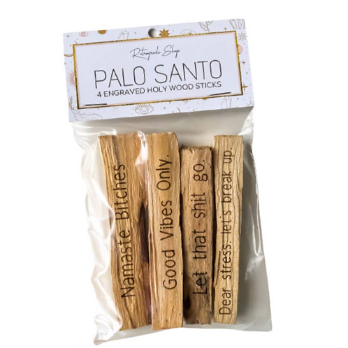 4 Pack - Engraved Palo Santo- Holy Wood-Incense, Purification, Healing