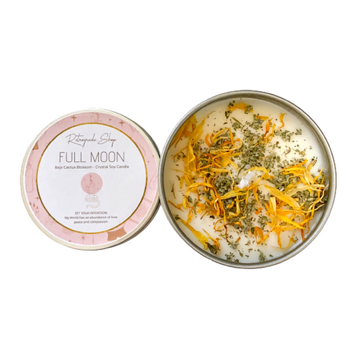"""Full Moon Herbal Crystal Candle """"Baja Cactus Blossom"""" Scent"""