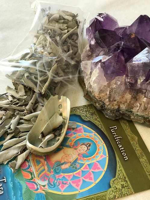 White Sage Leaves & Mini Abalone Set- Purification, Protection, Blessings