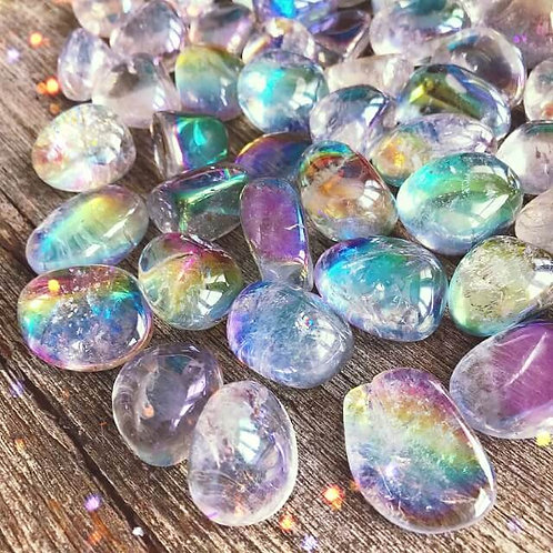 Aura Quartz Tumble Stone- Enhances Intuition, Psychic Skills, Love, Harmony