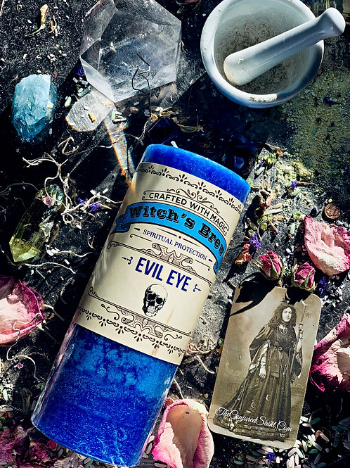 Witch's Brew Evil Eye Candle- A Penetrating Blend for Spiritual Protection