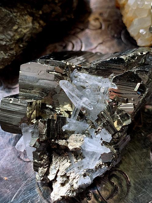 Petite Quartz Cluster with Pyrite Rare- Powerful Money Manifestation Talisman