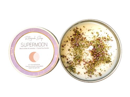 Supermoon Herbal Crystal Candle -Black Amber & Lavender & Scent