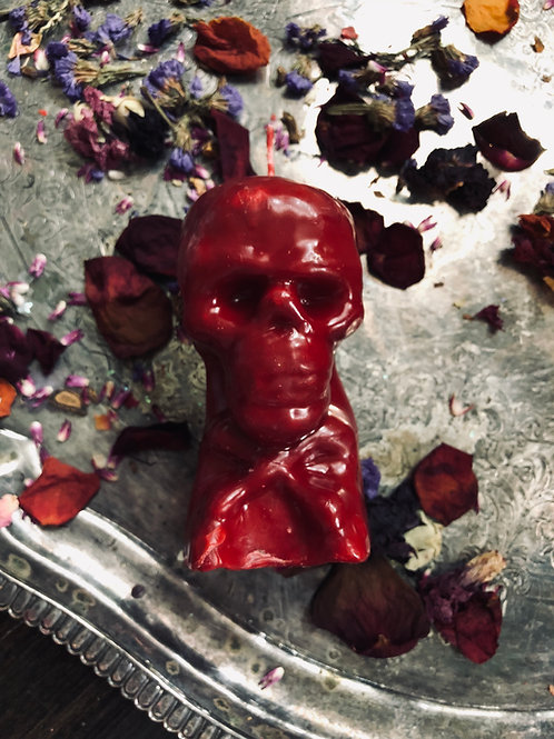 5 In. Red Skull Candle- Draw Love, Passion, lust, Friendship, Sex, Marriage, hoodoo, juju,  candle magic, love oil money oil