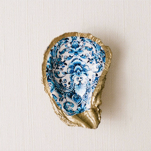 Indigo Floral Altar Oyster Dish- Protection, Offering, Blessings, Altar