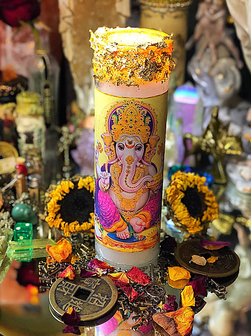 Ganesh 7 Day Hoodoo Ritual Candle- Removes Obstacles, Harbinger of Good Fortune