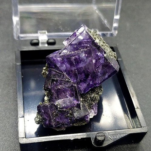 Mesmerizing Deep Purple Phantom Fluorite Cubes Cluster with Epidote