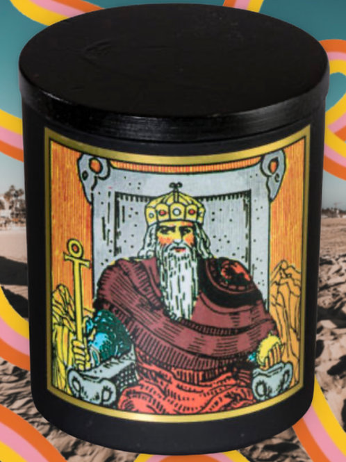 The Emperor Tarot Candle 8oz - Stability, Security, Hard Work, and Discipline.
