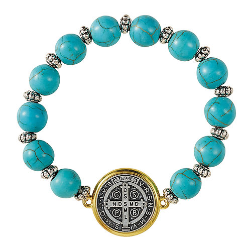 St. Benedict Turquoise Beaded Bracelet ( Blessed From My Local Church )