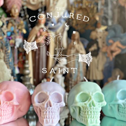 Pastel Pink Skull Candle- Draw Romantic Love, Sex, Harmony, Sensitivity
