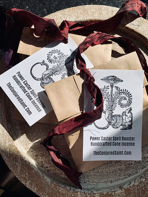 Power Caster Spell Booster Handcrafted Cone Incense- Draws Speed and Success