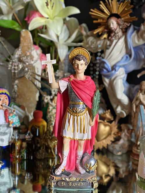 Saint Expedite Statue with Candle and Oil- Fast Solutions, Fast Luck, Fast Cash