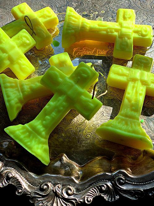 Master Key Crucifix Candle Yellow- Success, Attraction, Money, Invoke Spirits