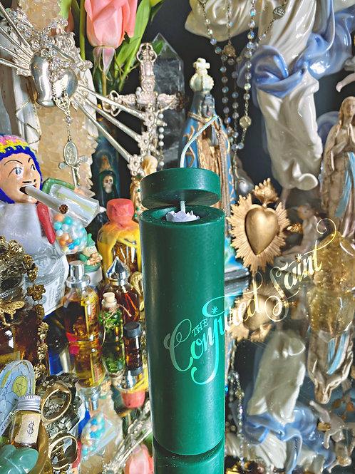 Custom Made Loadable Pillar Spell Candle -Green-  Focused Money Draw Energy
