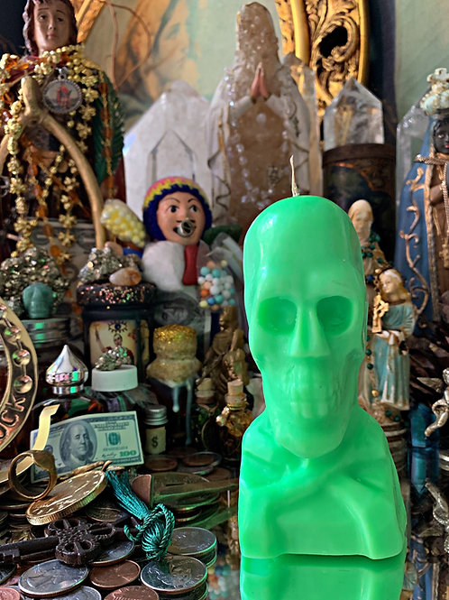 Bright Green Skull Candle- Focused Money Draw Energy, Raises, Checks, Clients