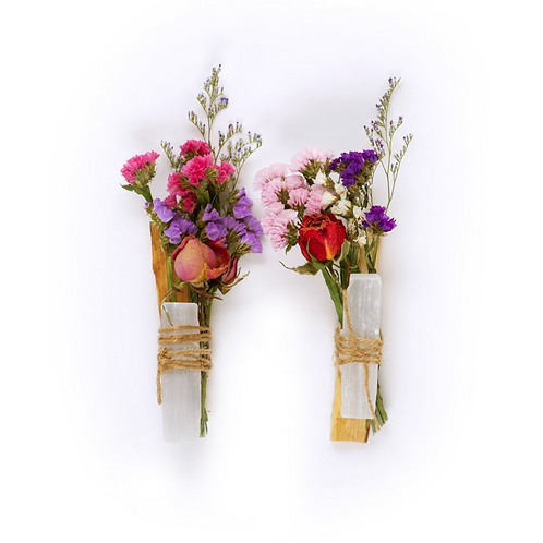 Palo Santo Flower Bundle With Selenite- Love, Healing, Luck & Protection