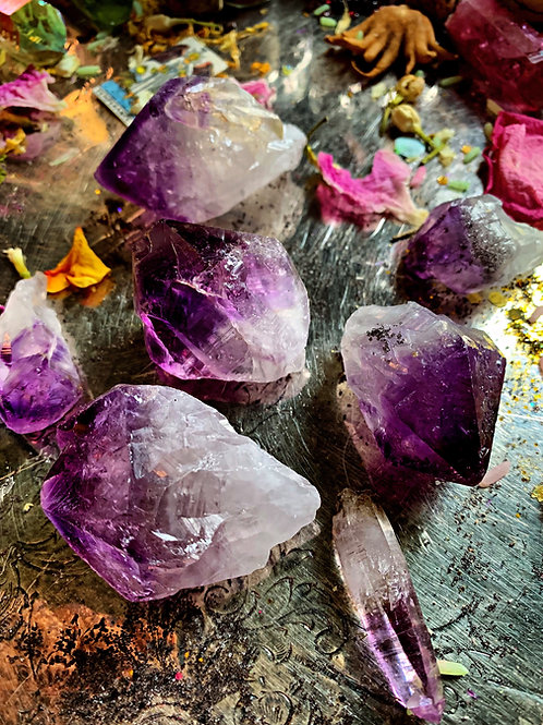 Raw Amethyst Point- Violet Flame, Cleanse Karmic Debt, Transformation