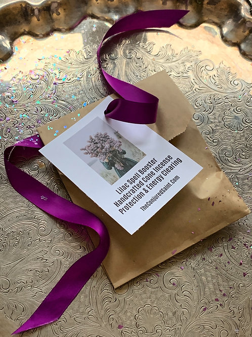 Lilac Spell Booster Handcrafted Cone Incense Protection & Energy Clearing