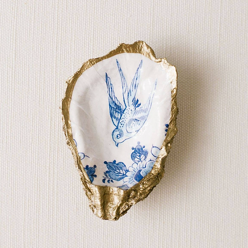 Blue Bird Altar Oyster Dish- Protection, Offering, Blessings, Altar, Peace