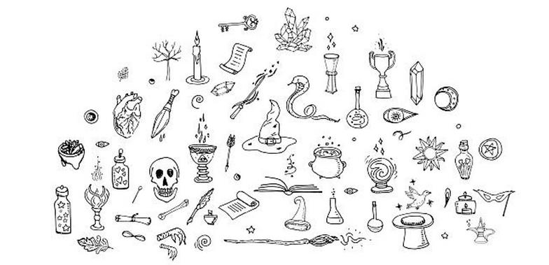 Magickal Doodles | Skulls, Cauldrons, Snakes, Brooms, Candles & More
