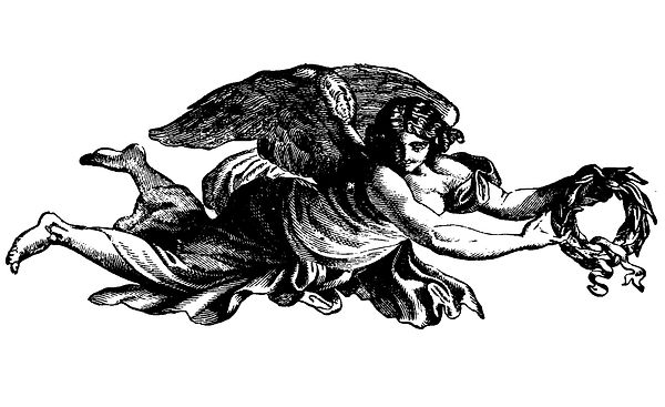 Winged Angel With A Wreath