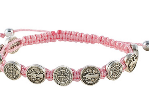 St. Benedict Medal w/Pink Cord Bracelet- ( Blessed From My Local Church )