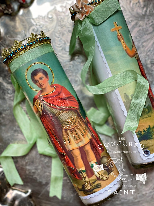 Saint Expedite Candle-  Fast Luck, Prompt Solutions, Financial Strength