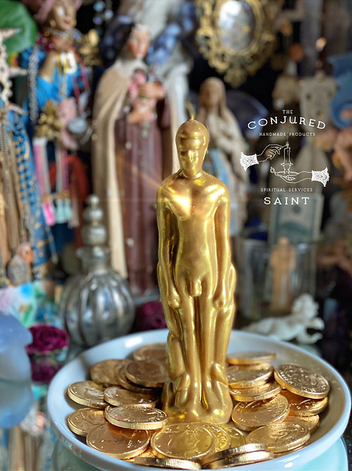 GOLD- Male- Ritual Image Candle- Attract Great Wealth and Fortune.