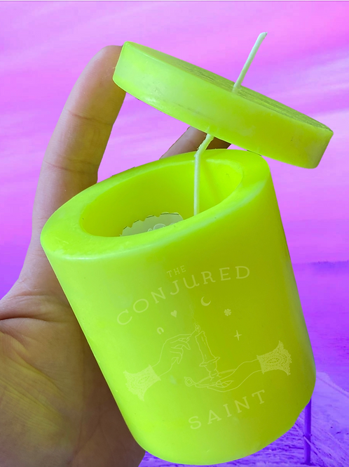 Loadable Spell Pillar Candle - Neon Yellow- Success, Attraction, Action, Love