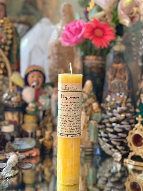 Happiness Blessed Herbal Candle - Gratitude, Happiness, Positive Intention ritual candles
