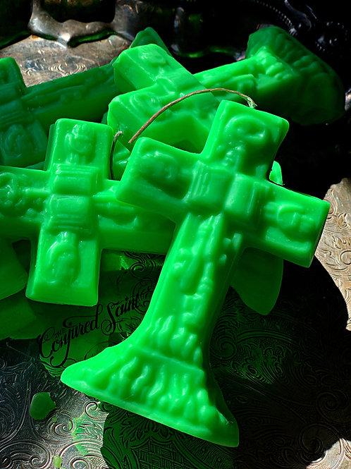 Green Crucifix Candle- Prosperity, Success, Fertility, Luck,Sales